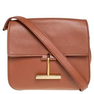 حقيبة كروس توم فورد تارا صغيرة جلد بني فاتح
