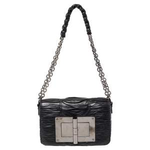 Tom Ford Black Pleated Leather Medium Natalia Chain Shoulder Bag