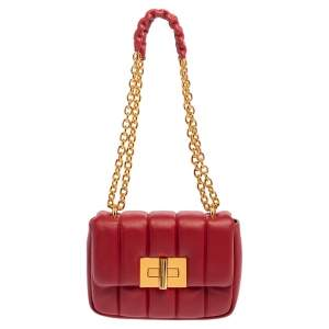 Tom Ford Red Quilted Leather Small Natalia Shoulder Bag