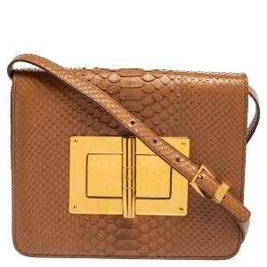 Tom Ford Brown Python Leather Large Natalia Shoulder Bag