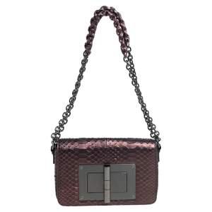 Tom Ford Bronze Python Medium Natalia Shoulder Bag