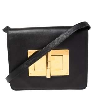 Tom Ford Black Leather Medium Natalia Shoulder Bag