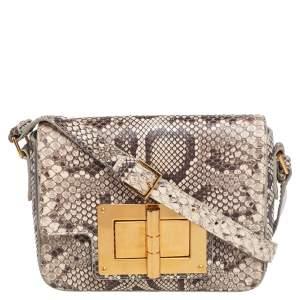 Tom Ford Beige/Brown Python Natalia Shoulder Bag