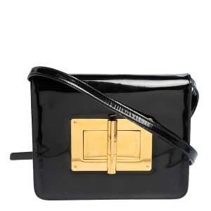 Tom Ford Black Patent Leather Large Natalia Shoulder Bag