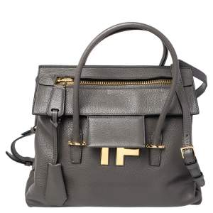 Tom Ford Grey Leather TF Icon Satchel