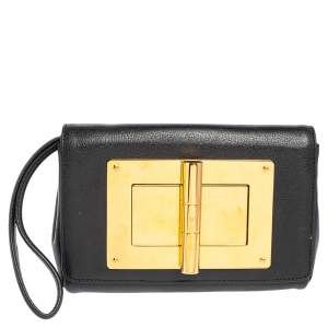 Tom Ford Black Leather Natalia Wristlet Clutch
