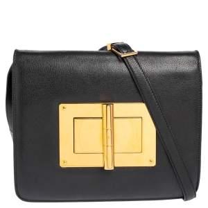 حقيبة كتف توم فورد ناتاليا جلد أسود كبيرة