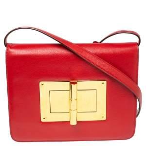 حقيبة كتف توم فورد ناتاليا جلد حمراء كبيرة