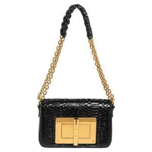 Tom Ford Black Python Natalia Chain Shoulder Bag