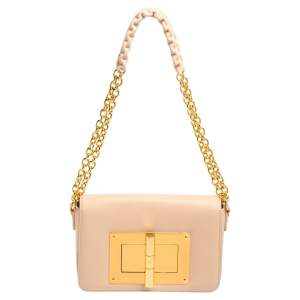 Tom Ford Pale Pink Leather Small Chain Natalia Shoulder Bag