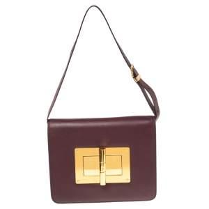 Tom Ford Burgundy Leather Large Natalia Shoulder Bag
