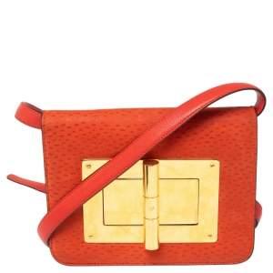Tom Ford Orange Nubuck and Leather Small Natalia Shoulder Bag