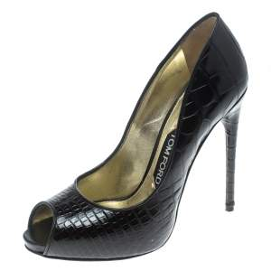 Tom Ford Black Croc Embossed Leather Peep Toe Pumps Size 37