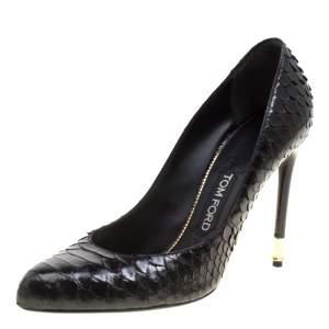 Tom Ford Black Python Leather Pumps Size 38