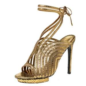 Tom Ford Gold Metallic Gold Python Leather Strappy Sandals Size 39