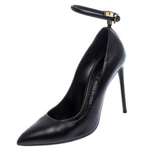 Tom Ford Black Leather Pointed Toe Ankle Strap Pumps Size 38