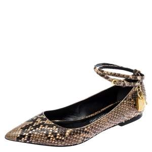 Tom Ford Multicolor Python Leather Ankle Wrap Lock Ballet Flats Size 38