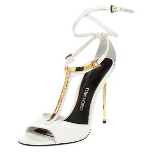 Tom Ford White Leather Gold-Tone Embellished T-Strap Open Toe Sandals Size 38