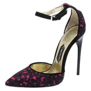 Tom Ford Pink/Black Embroidered Suede D'Orsay Pointed Toe Ankle Strap Pumps Size 38.5