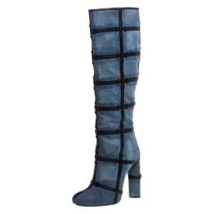 Tom Ford Denim Fabric And Leather Trim Patchwork Knee Length Boots Size 39