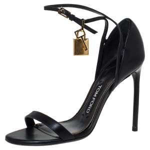 Tom Ford Black Leather Lock Ankle Strap Sandals Size 37