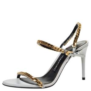 Tom Ford White Leather Chain Embellished Slingback Sandals Size 37