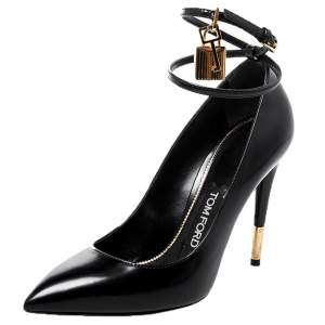 Tom Ford Black Patent Leather Padlock Pointed Toe Pumps Size 37