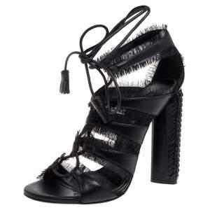 Tom Ford Black Leather Fringes Gladiator Tassel Ankle Wrap Sandals Size 36.5