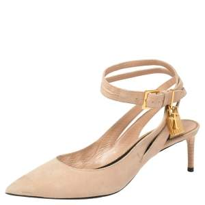 Tom Ford Rose Beige Suede Ankle Lock  Double Strap Pumps Size 39