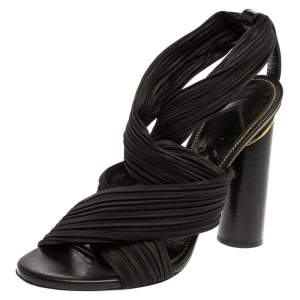 Tom Ford Black Fabric Crossover Slip On Sandals Size 38