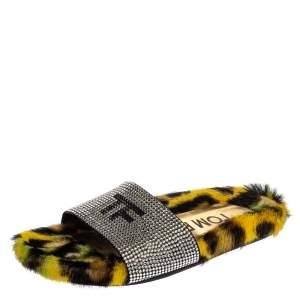 حذاء سلايدز توم فورد فلات فرو طباعة فهد وزخرفة كريستال أسود / أصفر مقاس 35