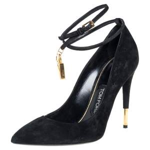 Tom Ford Black Suede Ankle Strap Luck Pumps Size 40