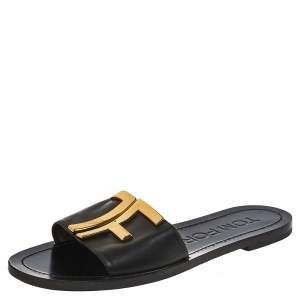 Tom Ford Black Leather TF Flat Slides Size 38