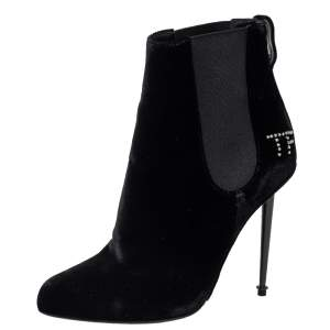 Tom Ford Black Suede Crystal Embellished Ankle Boots Size 38.5