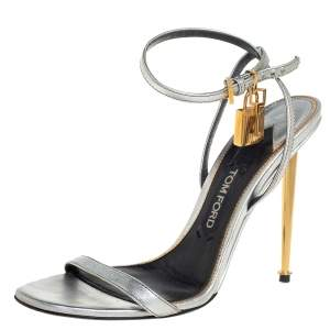 Tom Ford Metallic Silver Leather Padlock Ankle Strap Sandals Size 39