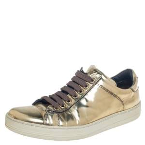 Tom Ford Metallic Gold Leather Low Top Sneakers Size 38