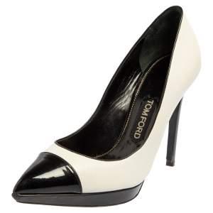حذاء كعب عالي توم فورد مقدمة مدببة غطاء مقدمة جلد وجلد لامع أسود/ أبيض مقاس 39.5