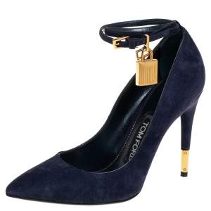 Tom Ford Blue Suede  Ankle Lock Pointed Toe Pumps Size 36.5