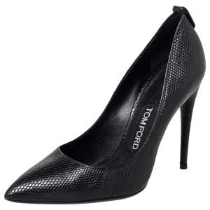 Tom Ford Black Textured Leather Pointed Toe Pumps Size 37.5