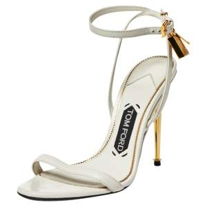 Tom Ford White Leather Padlock Open Toe Sandals Size 36