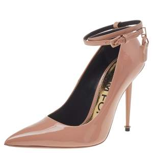 Tom Ford Beige Patent Leather Padlock Pumps Size 36