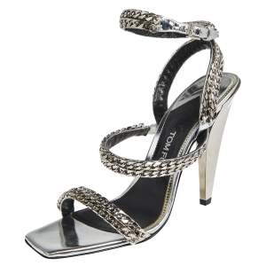 Tom Ford Metallic Silver Leather Chain Embellished Ankle Strap Open Toe Sandals Size 39