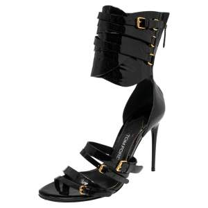 Tom Ford Black Patent Leather Gladiator Triple Buckle Sandals Size 38.5
