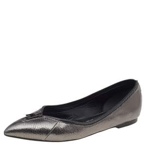 Tom Ford Metallic Grey Embossed Karung Leather Zipper Pointed Toe Ballet Flats Size 38