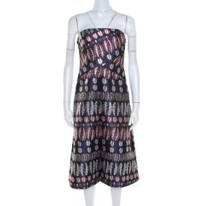 Tory Burch Navy Blue Lurex Fern Patterned Pleated Bodice Strapless Dress L