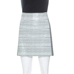 Tory Burch Bicolor Striped Leather Sorrel Skirt M