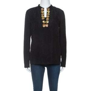 Tory Burch Black Embossed Silk Embellished Tunic Top M