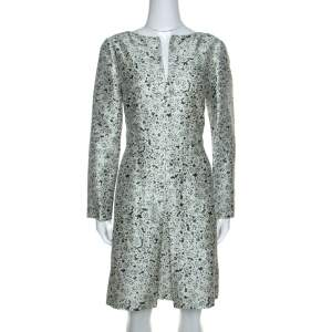 Tory Burch Multicolor Laceflower Print Silk Long Sleeve Dress L