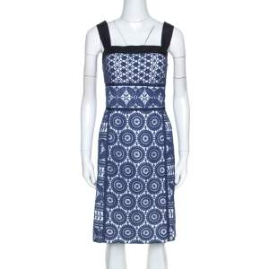 Tory Burch Blue Guipure Lace Sleeveless Margaux  Dresses L