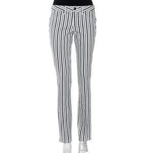 Tory Burch White & Blue Striped Denim Marlien Leggings M